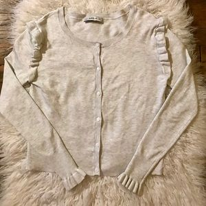 Zara Knit Oatmeal Cardigan Gray Sz M Ruffled